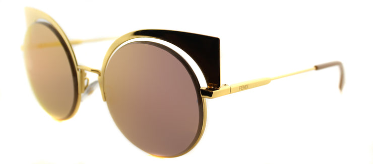 Fendi FF 0177 001 Cat-Eye Metal Gold Sunglasses with Gold Mirror Lens