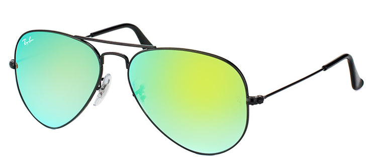 Ray-Ban RB 3025 002/4J Aviator Metal Black Sunglasses with Green Gradient Mirror Lens
