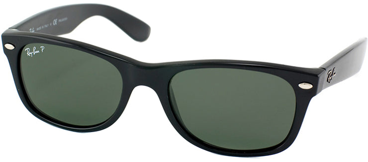 Ray-Ban RB 2132 901/58 Wayfarer Plastic Black Sunglasses with Green Polarized Lens
