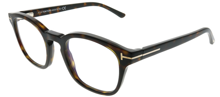 Tom Ford FT 5532B/V 52E Rectangle Plastic Tortoise/ Havana Sunglasses with Blue Block Clear With Brown Clip on Lens