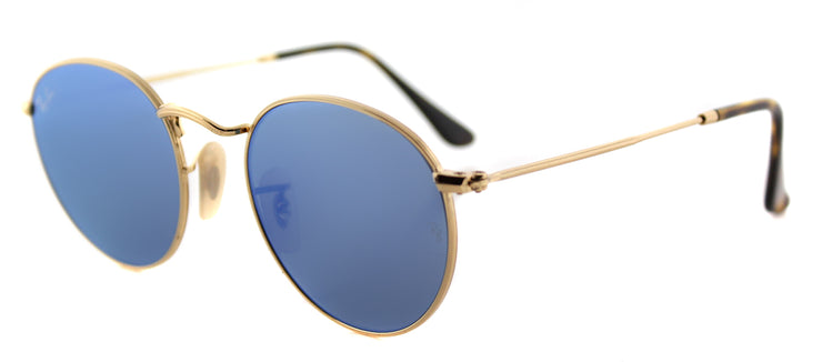 Ray-Ban RB 3447N 001/9O Round Metal Gold Sunglasses with Light Blue Flat Flash Lens