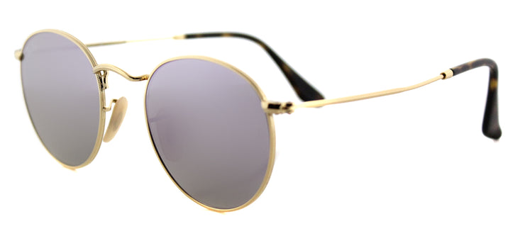 Ray-Ban RB 3447N 001/8O Round Metal Gold Sunglasses with Wisteria Flat Flash Lens