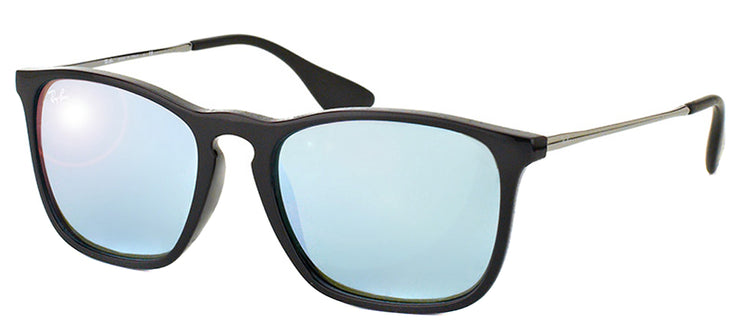 Ray-Ban Chris RB 4187 601/30 Square Plastic Black Sunglasses with Silver Mirror Lens
