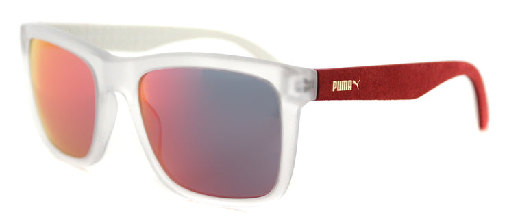 Puma PU 0040S 008 Rectangle Plastic Grey Sunglasses with Red Mirror Lens