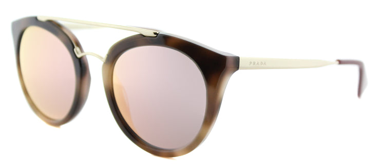 Prada PR 23SS USG5L2 Round Plastic Brown Sunglasses with Yellow Rose Mirror Lens