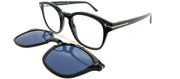Tom Ford FT 5532B/V 01V Rectangle Plastic Black Sunglasses with Blue Block Clear With Blue Clip on Lens