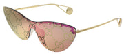 Gucci GG 0666S 003 Cat-Eye Metal Gold Sunglasses with Pink Guccissima Mirror Lens