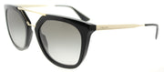 Prada PR 13QS 1AB0A7 Cat-Eye Plastic Black Sunglasses with Grey Gradient Lens