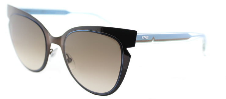 Fendi Fendi Lines FF 0133 NPO Cat-Eye Metal Brown Sunglasses with Brown Gradient Lens