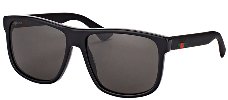 Gucci GG 0010S 001 Rectangle Plastic Black Sunglasses with Grey Lens