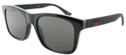Gucci GG 0008S 002 Square Plastic Black Sunglasses with Grey Polarized Lens