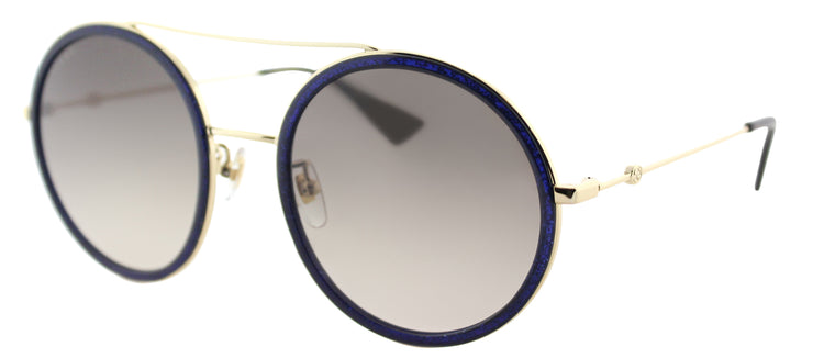 Gucci GG 0061S 005 Round Metal Blue Sunglasses with Brown Gradient Lens