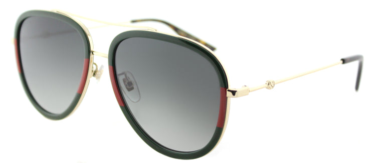 Gucci GG 0062S 003 Aviator Metal Gold Sunglasses with Grey Gradient Lens