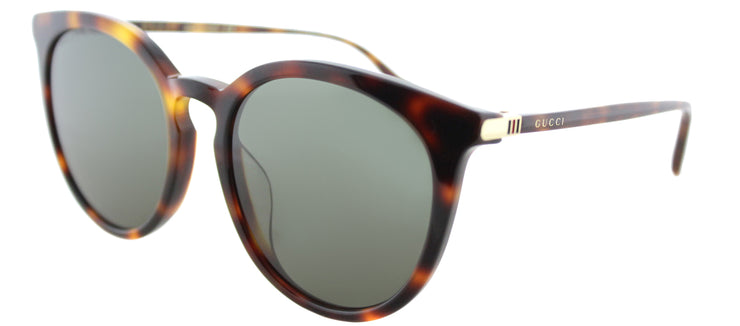 Gucci GG 0064SK 005 Round Plastic Tortoise/ Havana Sunglasses with Green Lens