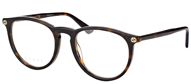 Gucci GG 0027O 002 Round Plastic Tortoise/ Havana Eyeglasses with Demo Lens
