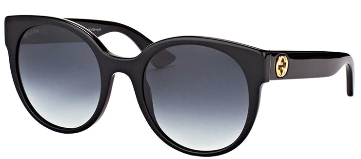 Gucci GG 0035S 001 Round Plastic Black Sunglasses with Grey Gradient Lens
