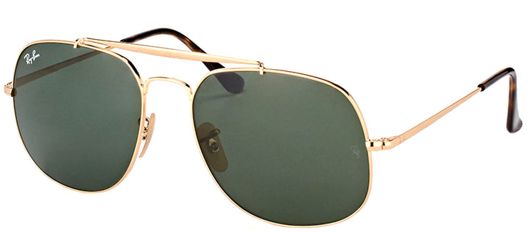 Ray-Ban RB 3561 001 Aviator Metal Gold Sunglasses with Green Lens