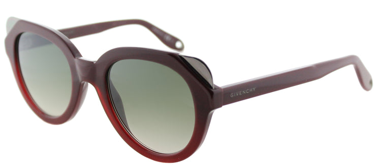 Givenchy GV 7053 L39 Cat-Eye Plastic Burgundy/ Red Sunglasses with Silver Mirror Lens