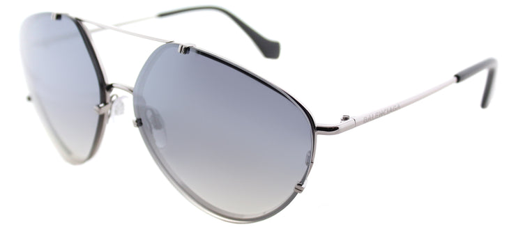 Balenciaga BA 0085 14C Aviator Metal Ruthenium/ Gunmetal Sunglasses with Smoke Mirror Lens