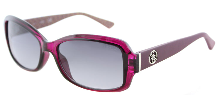 Guess GU 7410 69B Oval Plastic Burgundy/ Red Sunglasses with Grey Gradient Lens