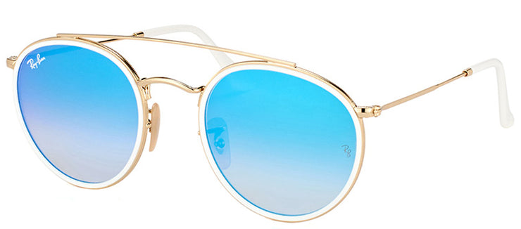 Ray-Ban RB 3647N 001/4O Round Metal Gold Sunglasses with Blue Mirror Lens