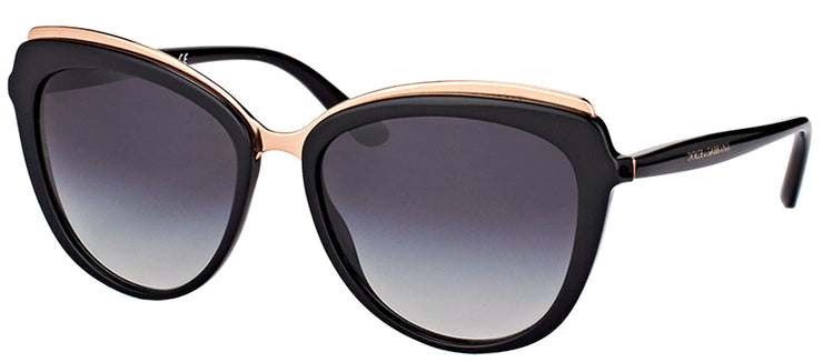 Dolce & Gabbana DG 4304 501/8G Cat-Eye Plastic Black Sunglasses with Grey Gradient Lens