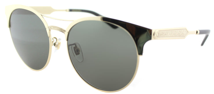 Gucci GG 0075S 003 Round Metal Gold Sunglasses with Green Lens
