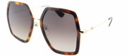 Gucci GG 0106S 002 Square Metal Gold Sunglasses with Brown Gradient Lens