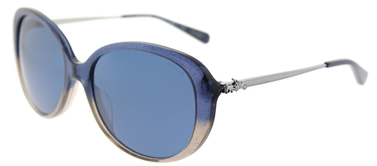 Coach HC 8215F 548980 Oval Plastic Blue Sunglasses with Dark Blue Lens