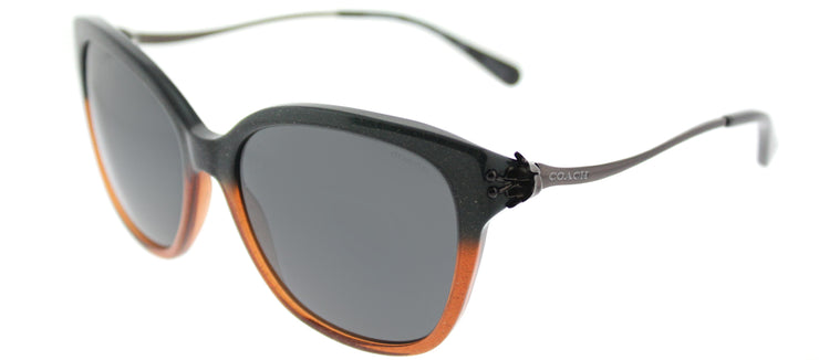 Coach HC 8218 547587 Square Plastic Black Sunglasses with Dark Grey Lens