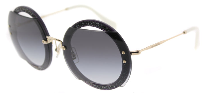 Miu Miu MU 06SS VYU5D1 Round Plastic Black Sunglasses with Grey Gradient Lens