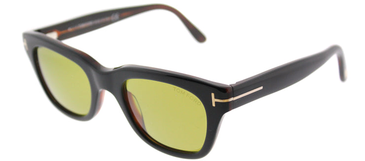 Tom Ford TF 237 05N Rectangle Plastic Black Sunglasses with Green Lens