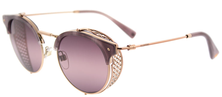 Valentino VA 2008Z 3004W9 Round Metal Gold Sunglasses with Pink Bi-Gradient Purple Lens