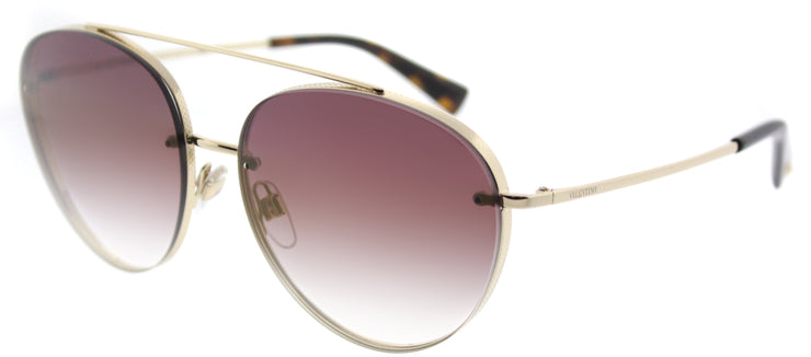 Valentino VA 2009 3003E7 Aviator Metal Gold Sunglasses with Gradient Pink Mirror Lens
