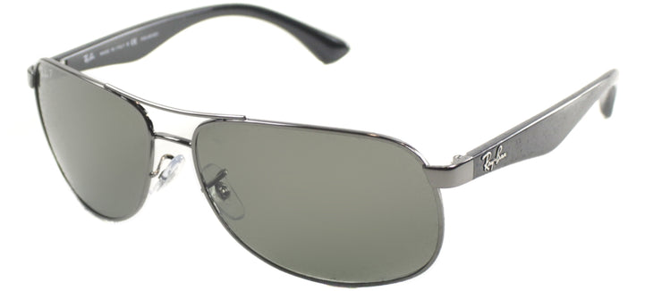 Ray-Ban RB 3502 004/58 Aviator Metal Silver Sunglasses with Green Polarized Lens