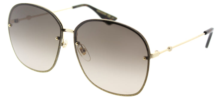 Gucci GG 0228S 003 Oval Metal Gold Sunglasses with Brown Gradient Lens