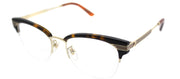 Gucci GG 0201O 002 Clubmaster Plastic Brown Eyeglasses with Demo Lens