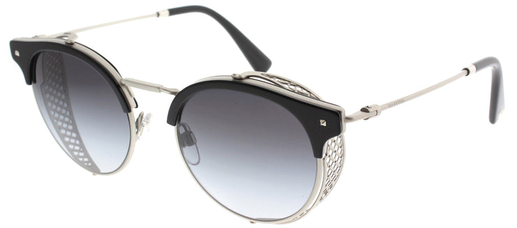 Valentino VA 2008Z 30158G Round Metal Silver Sunglasses with Grey Gradient Lens