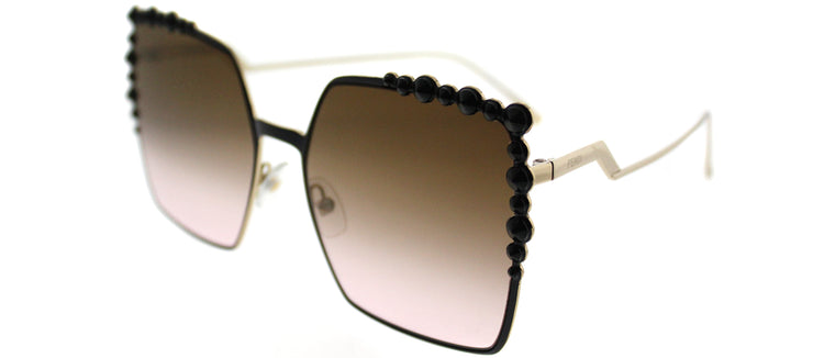 Fendi FF 0259 2O5 Square Metal Black Sunglasses with Brown Gradient Lens