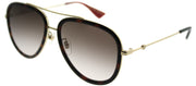 Gucci GG 0062S 012 Aviator Metal Brown Sunglasses with Brown Gradient Lens