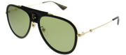 Gucci GG 0062S 014 Aviator Metal Black Sunglasses with Green Lens