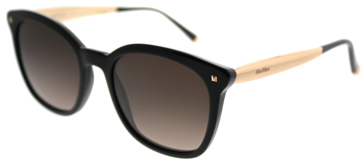 MaxMara MM NeedleIII 06K J6 Square Plastic Black Sunglasses with Brown Gradient Lens