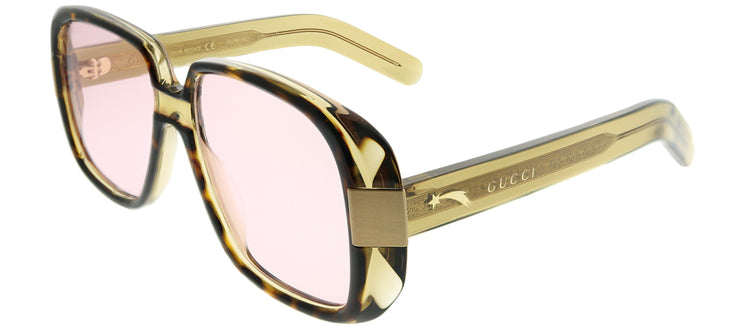 Gucci GG 0318S 003 Rectangle Plastic Tortoise/ Havana Sunglasses with Pink Lens