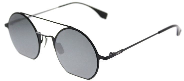 Fendi FF 0291 807 T4 Round Metal Black Sunglasses with Blue Mirror Lens