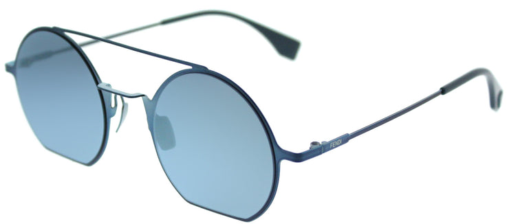 Fendi FF 0291 PJP 3J Round Metal Blue Sunglasses with Silver Mirror Lens