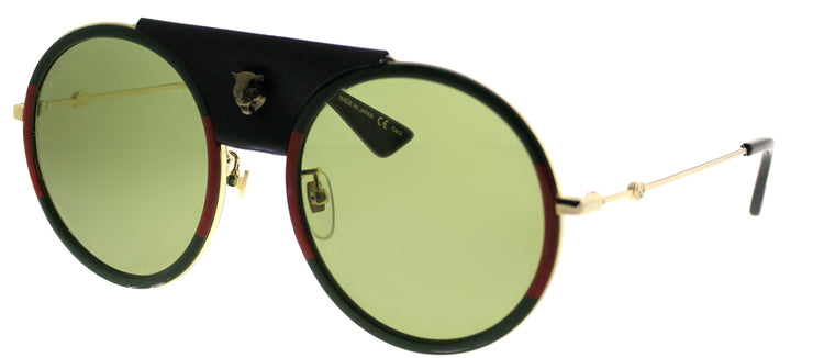 Gucci GG 0061S 017 Round Metal Gold Sunglasses with Green Lens