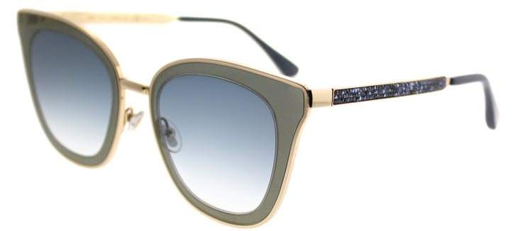 Jimmy Choo JC Lory KY2 Cat-Eye Metal Gold Sunglasses with Blue Mirror Gradient Lens