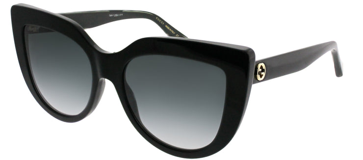 Gucci GG 0164S 001 Cat-Eye Plastic Black Sunglasses with Grey Gradient Lens