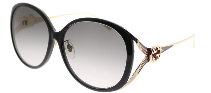 Gucci GG 0226SK 001 Round Plastic Black Sunglasses with Grey Gradient Lens