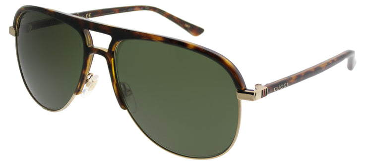Gucci GG 0292S 003 Aviator Plastic Tortoise/ Havana Sunglasses with Green Lens